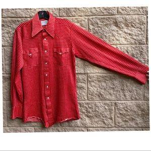 Vintage Western Pearl Snap Men's Red Longsleeve